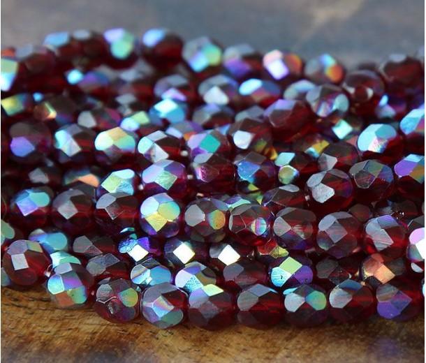 Garnet AB Czech Glass Beads, 6mm Faceted Round
