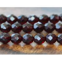 Garnet Czech Glass Beads, 8mm Faceted Round