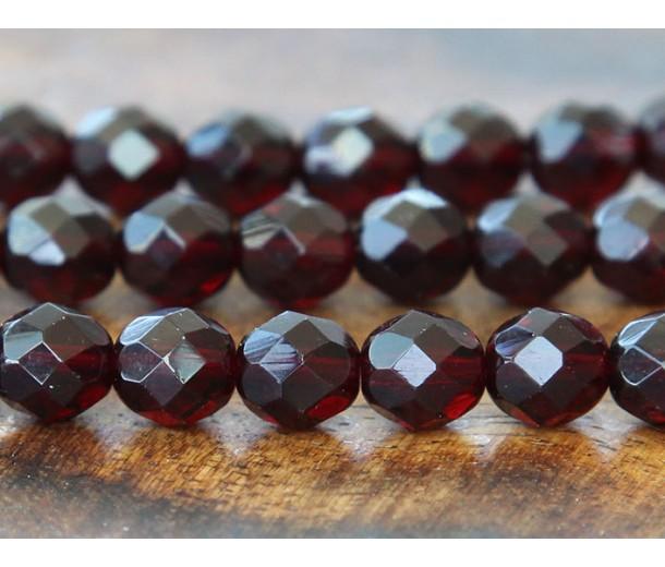 Garnet Czech Glass Beads, 8mm Faceted Round