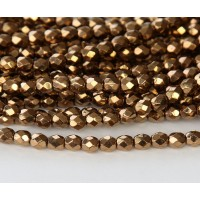 Bronze Czech Glass Beads, 4mm Faceted Round