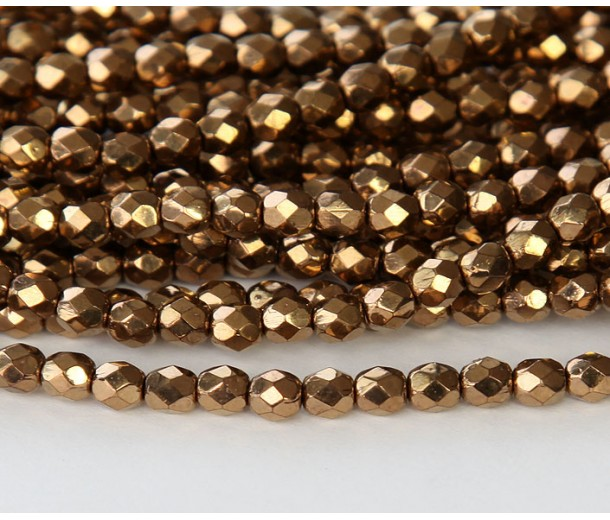 Bronze Czech Glass Beads, 4mm Faceted Round