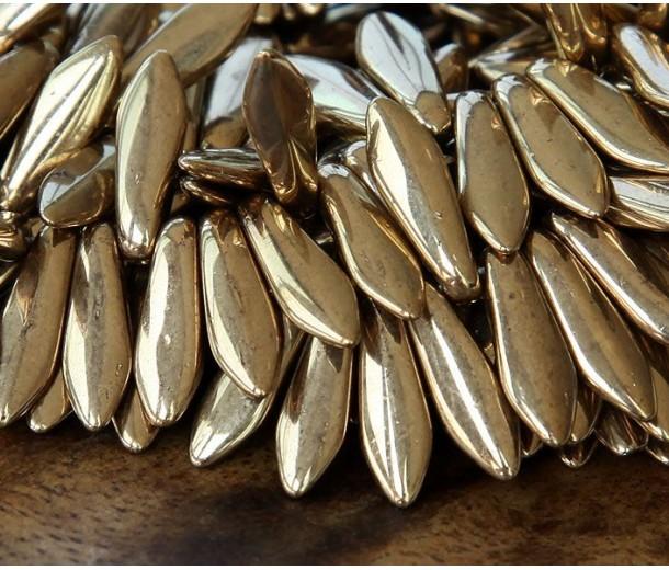Bronze Czech Glass Beads, 5x16mm Dagger
