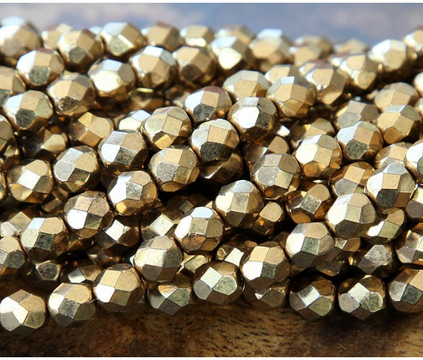 Bronze Czech Glass Beads, 6mm Faceted Round