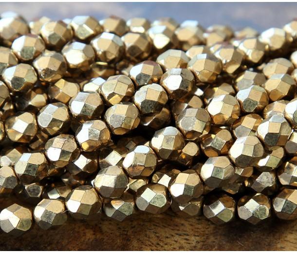 Bronze Czech Glass Beads, 6mm Faceted Round