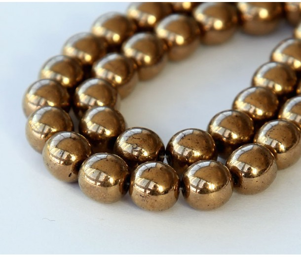 Bronze Czech Glass Beads, 8mm Round
