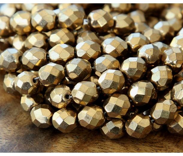 Bronze Czech Glass Beads, 8mm Faceted Round