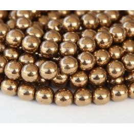 Bronze Czech Glass Beads, 4mm Round