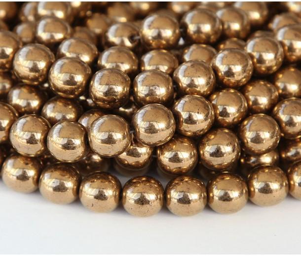 Bronze Czech Glass Beads, 6mm Round