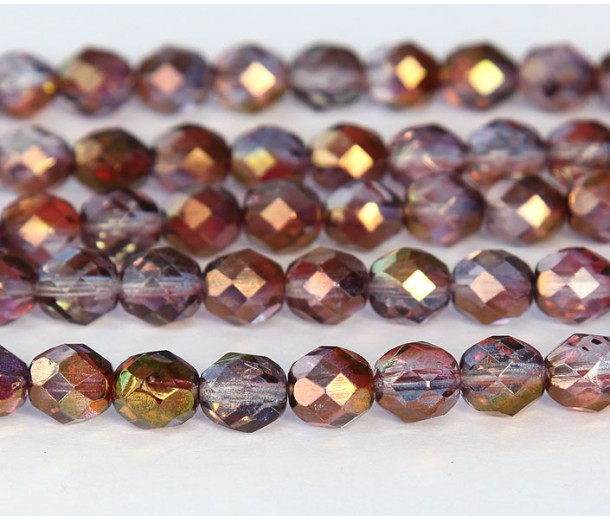 Amethyst Crystal Luster Czech Glass Beads, 8mm Faceted Round
