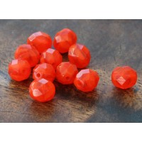 Opal Siam Ruby Czech Glass Beads, 8mm Faceted Round