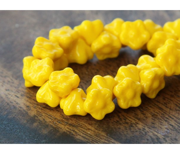Sunflower Yellow Czech Glass Beads, 7mm Button Flower, Pack of 25