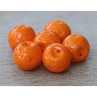 Opaque Orange Czech Glass Beads, 9mm Orange