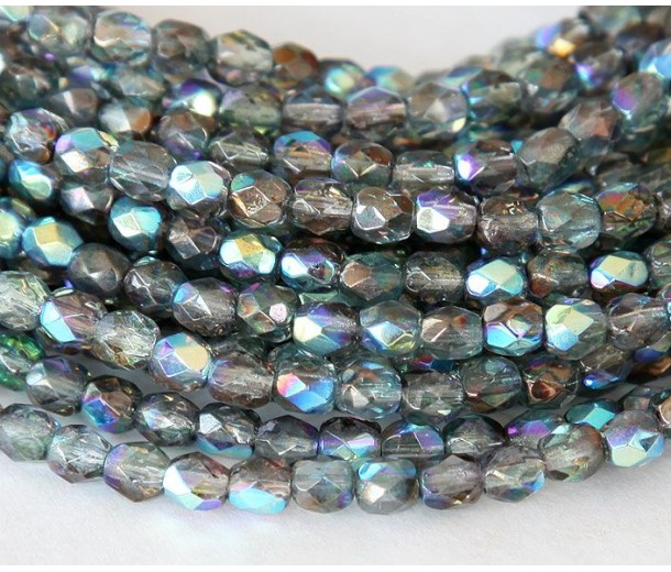 Blue Crystal Luster AB Czech Glass Beads, 4mm Faceted Round