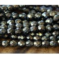 Gold Topaz Czech Glass Beads, 8mm Faceted Round