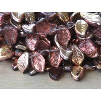 Medium Amethyst Bronze Czech Glass Beads, 14x9mm Leaf