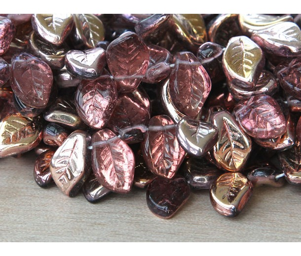 Medium Amethyst Bronze Czech Glass Beads, 14x9mm Leaf