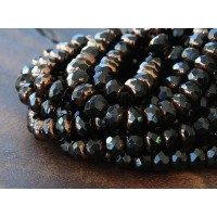 Jet Bronze Czech Glass Beads, 7x5mm Rondelle