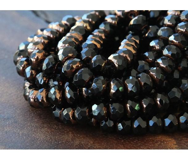 Jet Bronze Czech Glass Beads, 7x5mm Rondelle