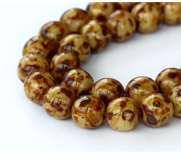 Brown Swirl Czech Glass Beads, 10mm Round