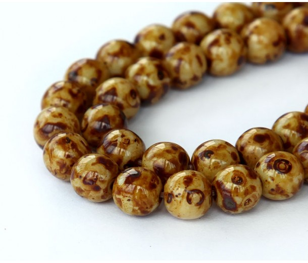 Brown Swirl Czech Glass Beads, 8mm Round, Pack of 25