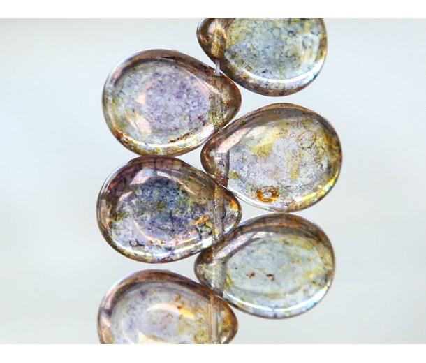 Crystal Bronze Picasso Czech Glass Beads, 12x16mm Table Cut Drop