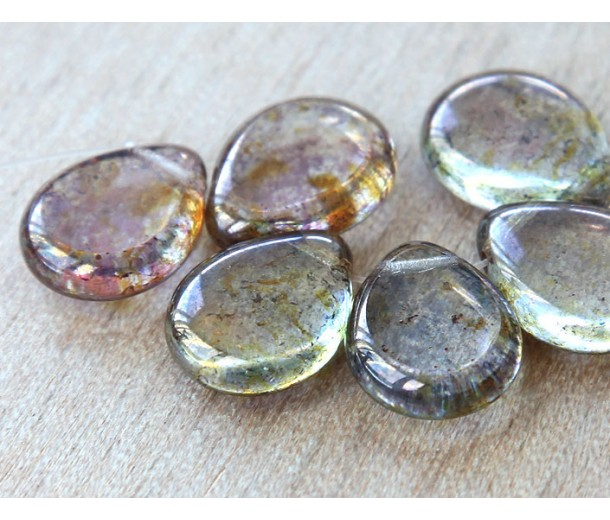 Crystal Bronze Picasso Czech Glass Beads, 12x16mm Table Cut Drop