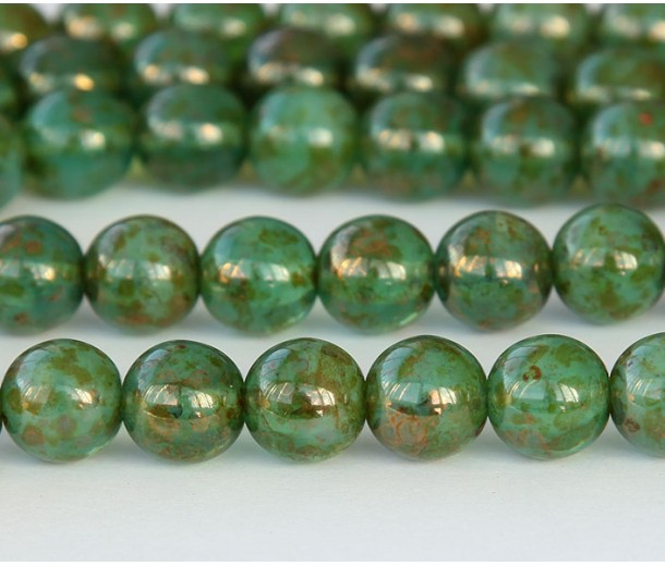 Milky Peridot Bronze Picasso Czech Glass Beads, 10mm Round