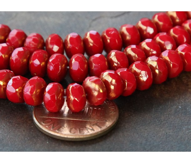 Opaque Red Copper Czech Glass Beads, 7x5mm Rondelle