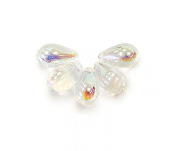 Crystal AB Czech Glass Beads, 9x6mm Teardrop