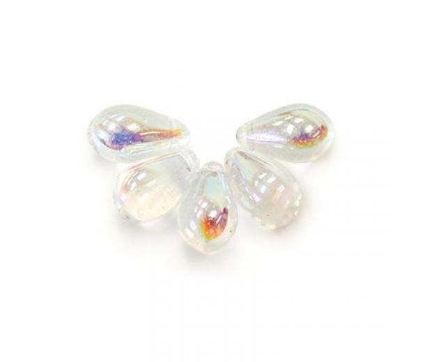Crystal AB Czech Glass Beads, 9x6mm Teardrop, 2.75 Inch Tube