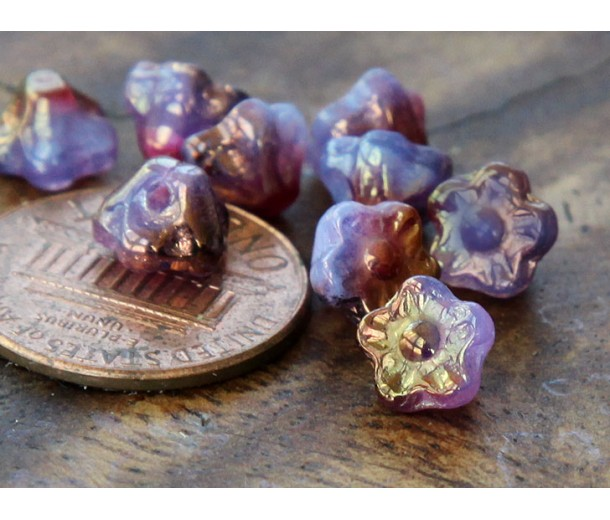 Milky Lavender Amethyst Luster Czech Glass Beads, 7mm Button Flower