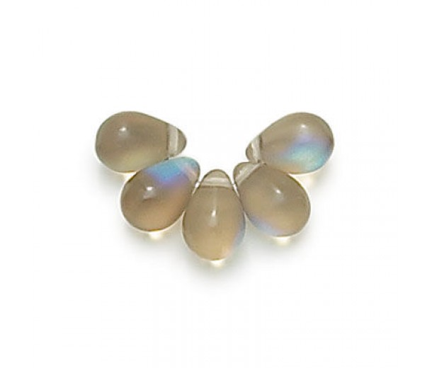 Matte Black Diamond AB Czech Glass Beads, 9x6mm Teardrop