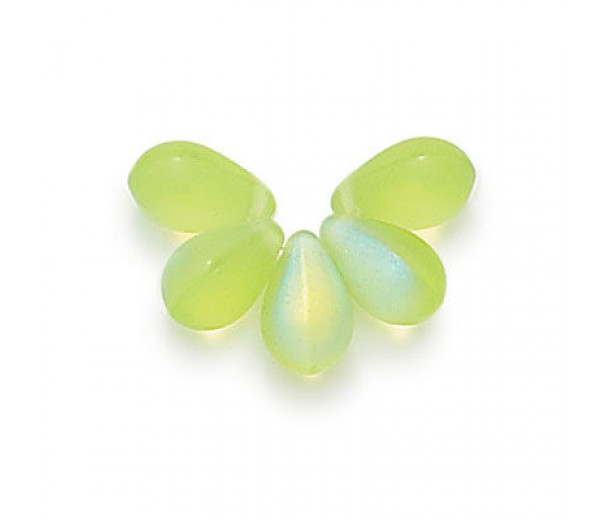 Matte Peridot AB Czech Glass Beads, 9x6mm Teardrop, Pack of 50