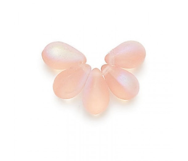 Matte Pink AB Czech Glass Beads, 9x6mm Teardrop, Pack of 50