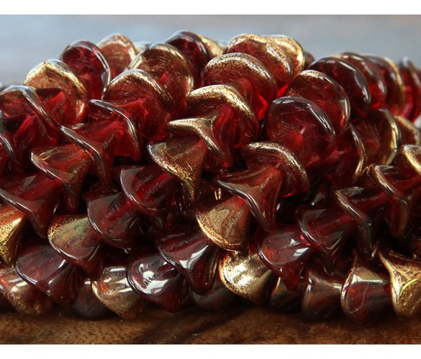 Mauve Gold Czech Glass Beads, 9x12mm Three Petal Flower, Pack of 12