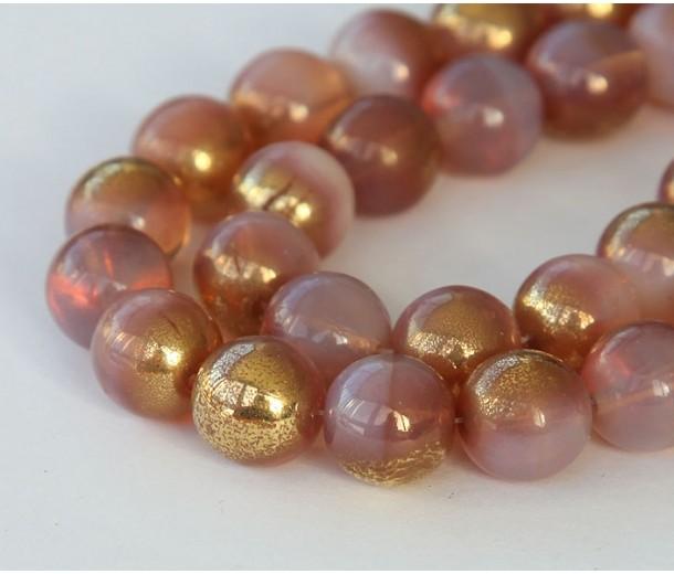 Gold Milky Pink Czech Glass Beads, 10mm Round