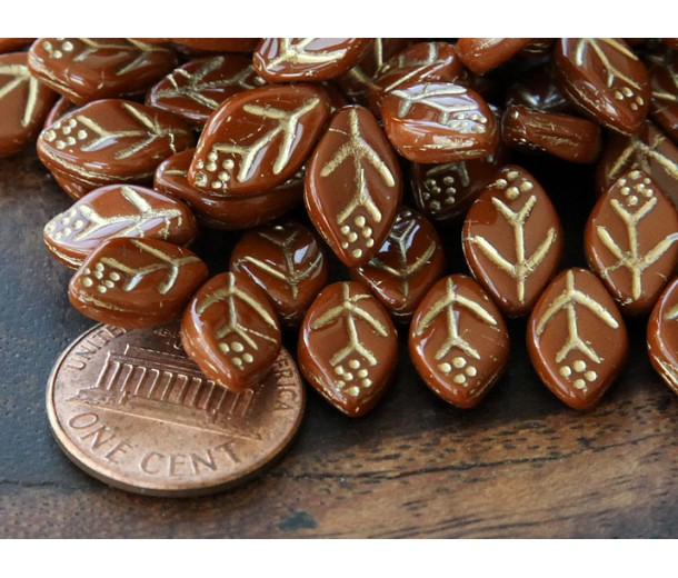 Auburn Gold Inlay Czech Glass Beads, 12x7mm Leaf
