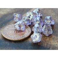 Light Lavender Gold Inlay Czech Glass Beads, 7mm Button Flower, Pack of 25