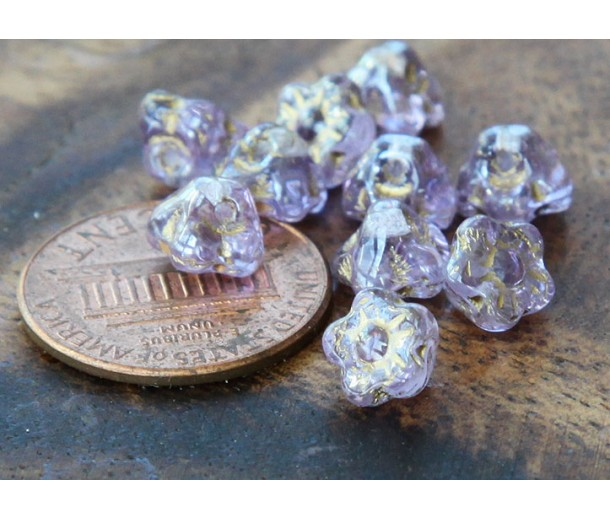 Light Lavender Gold Inlay Czech Glass Beads, 7mm Button Flower