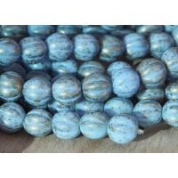 Opaque Blue Gold Marbled Czech Glass Beads, 8mm Melon Round
