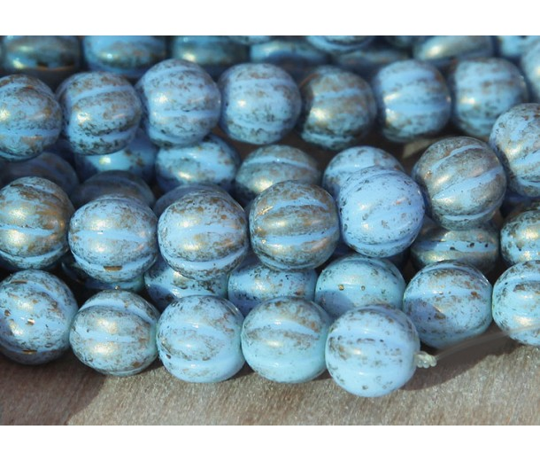 Opaque Blue Gold Marbled Czech Glass Beads, 8mm Melon Round