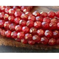 Oxblood Gold Marbled Czech Glass Beads, 6mm Faceted Round