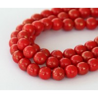 Gold Marbled Opaque Red Czech Glass Beads, 6mm Round