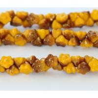 Sunflower Yellow Pink Luster Czech Glass Beads, 7mm Button Flower, Pack of 25