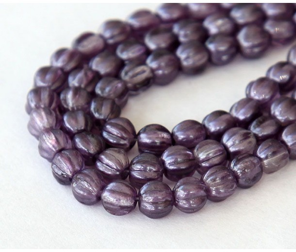 Satin Lavender Coated Czech Glass Beads, 5mm Melon Round