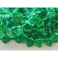 Lemon Lime Dual Coated Czech Glass Beads, 12x9mm Leaf