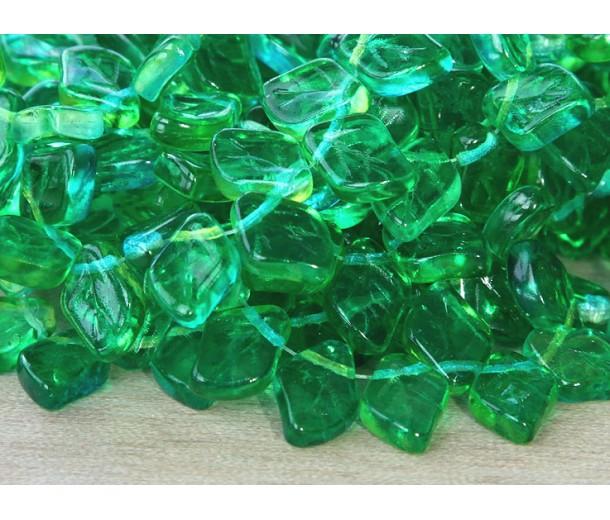 Lemon Lime Dual Coated Czech Glass Beads, 12x9mm Leaf