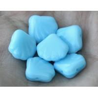Opaque Baby Blue Czech Glass Beads, 14mm Shell
