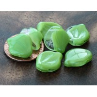 Green Crystal Picasso Czech Glass Beads, 12x15mm Wavy Leaf, Pack of 10