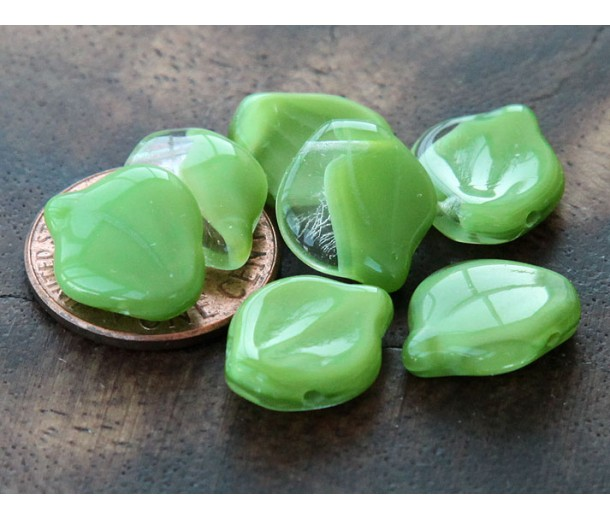 Coral Green Crystal Picasso Czech Glass Beads, 12x15mm Wavy Leaf